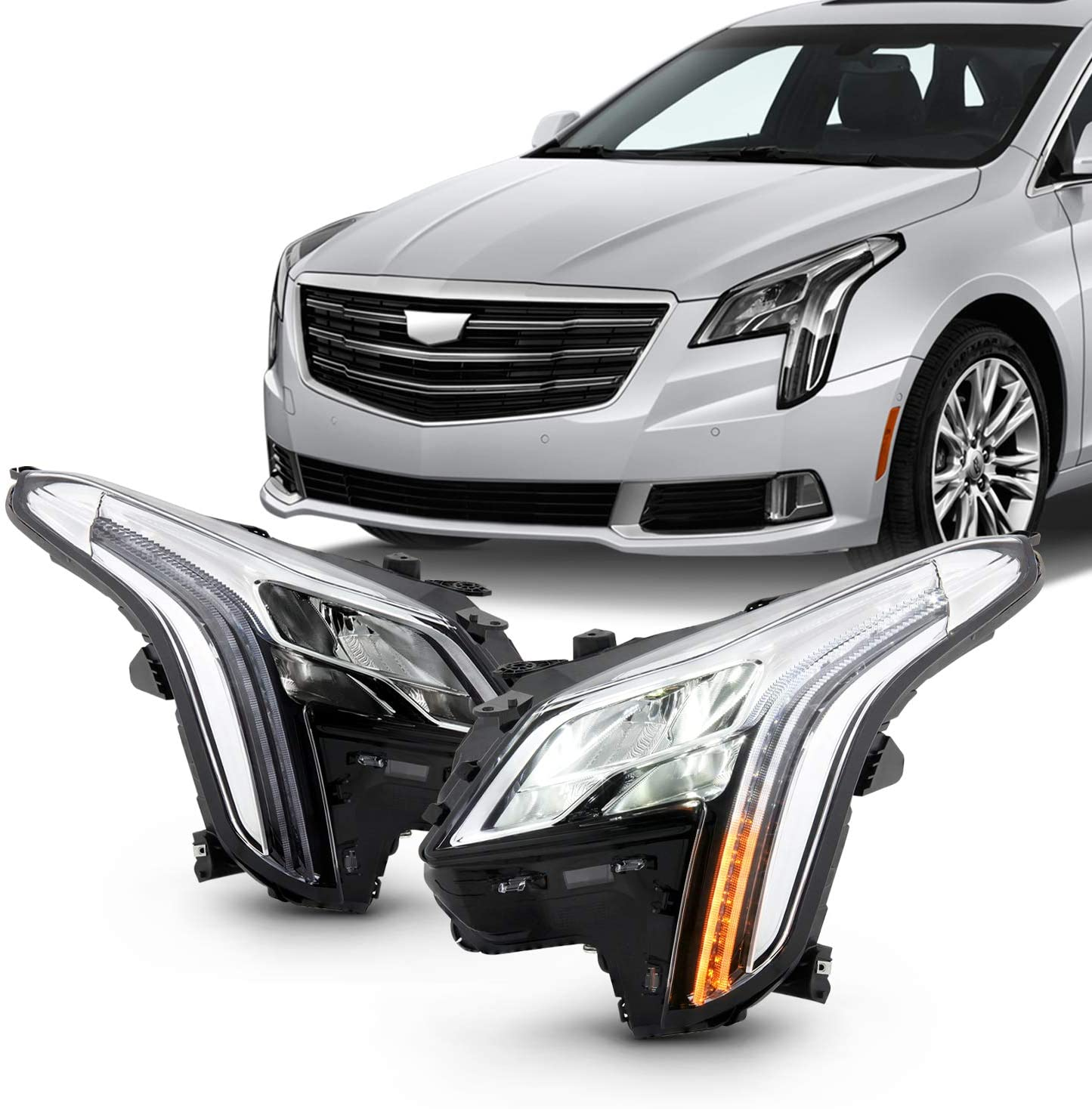 Fits 2018 2019 Cadillac XTS Sedan 4Door LED DRL Tube Bar Projector Chrome Headlights Pair Driver + Passenger Replacement