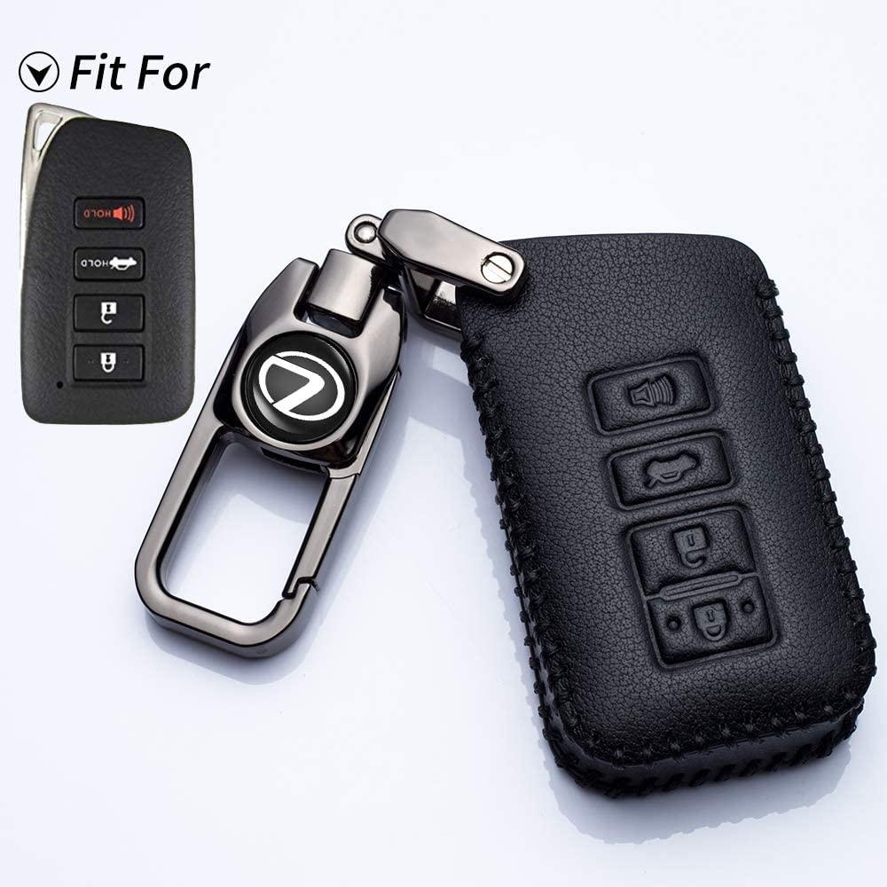 uuuu for Lexus Key Fob Cover Genuine Leather Keyless Remote Fob Case Car Cover fit for Lexus ES250 ES350 ES300H GS350 GS450 NX300 ES300H -4-Buttons
