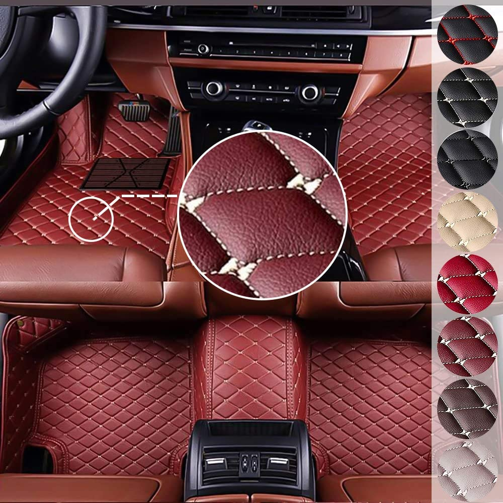 MyGone Custom Fit Car Floor Mats for Audi A1 A3 A4 A5 A5 A7 A8 A8L Q3 Q5 Q7 Q8 R8 S1 S5 RS TT, Leather Floor Liners Waterproof (Wine Red)