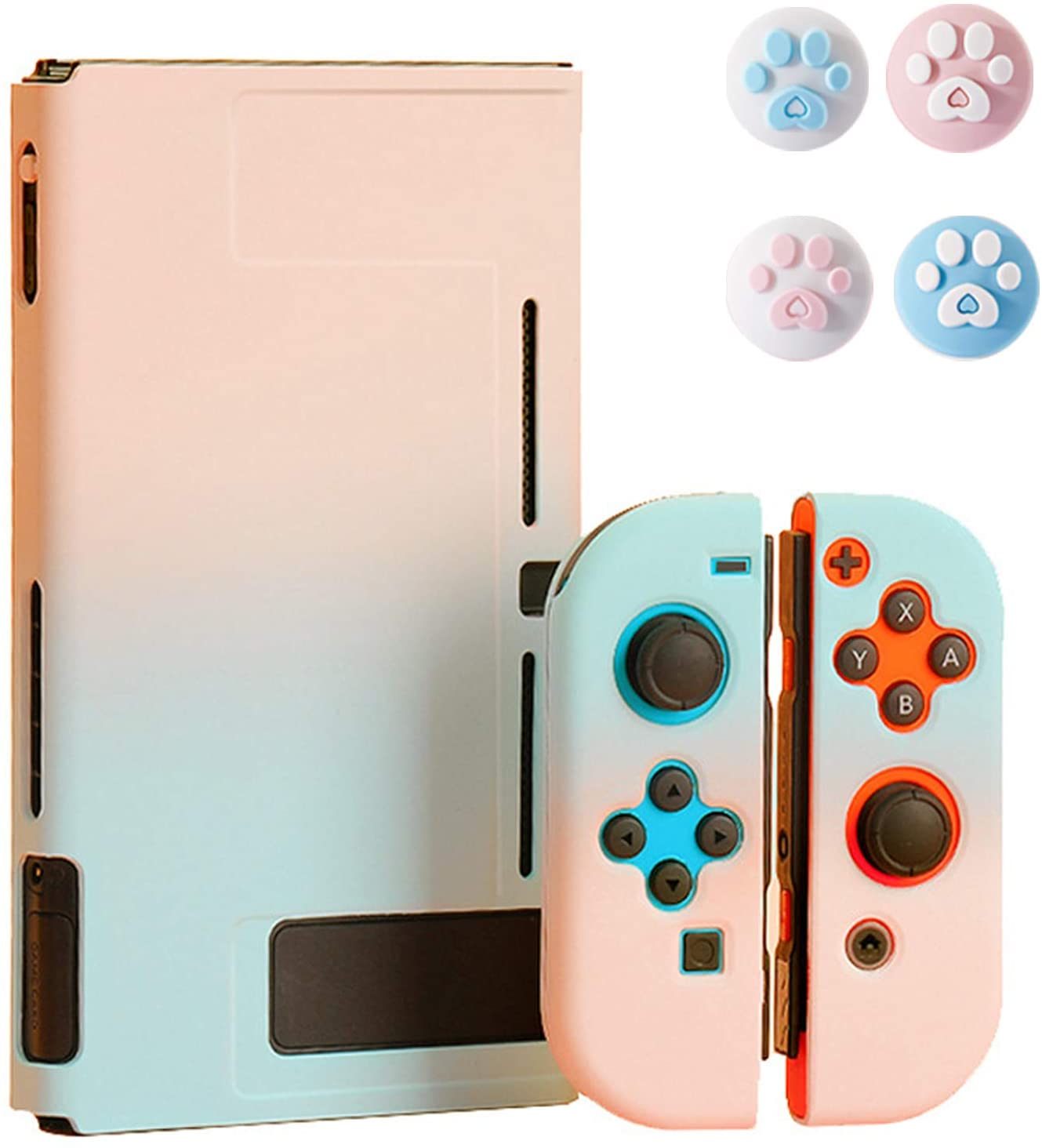 Protective Case for Nintendo Switch with 4 Thumb Grip Caps - Portable Unique Gradient Color Ultra Slim Carrying Case - fit for Nintendo Switch Console and Accessories