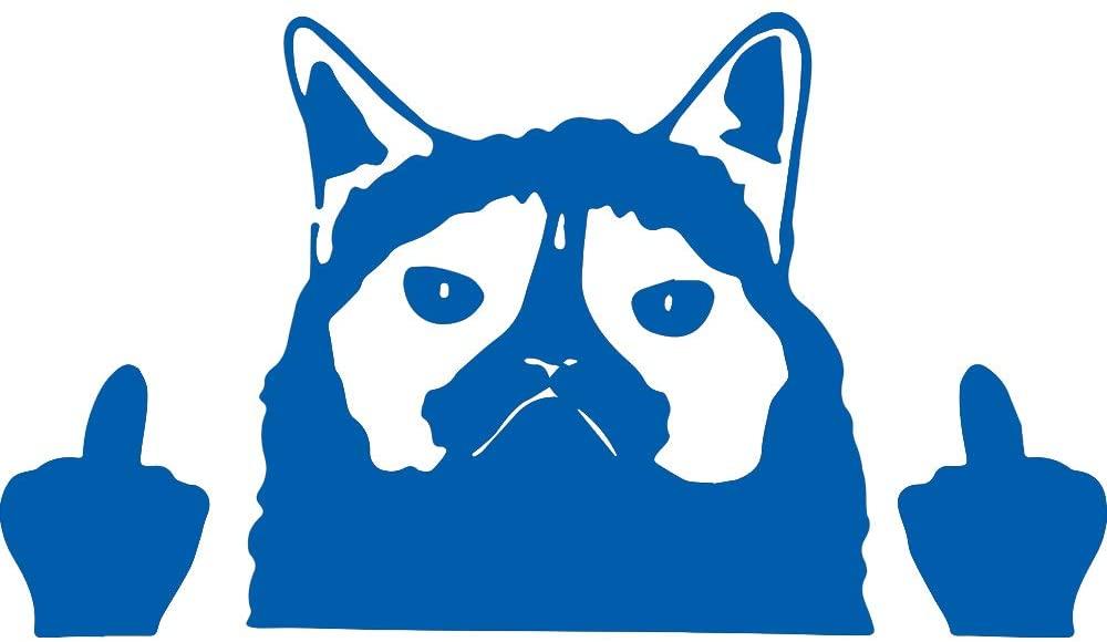 Humor Grumpyy Cat Flippingg Off Humor Grumpy Cat Flipping Off (Azure Blue) (Set Of 2) Premium Waterproof Vinyl Decal Stickers For Laptop Phone Car Window Bumper Mug Tuber Cup Door Wall Decoration
