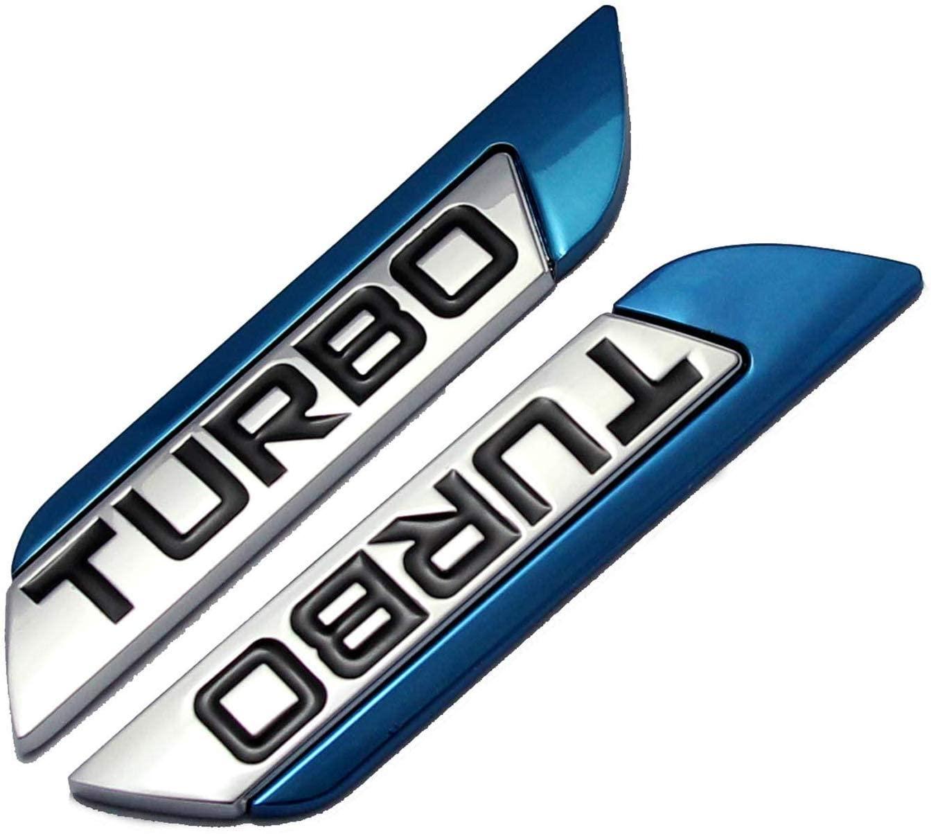 2Pcs/Pair 3D Metal TURBO Car Side Fender Rear Trunk Emblem Badge Sticker Decals for JEEP Dodge Mercedes BMW Mustang Volvo Chevrolet Nissan Audi VW Ford Honda Toyota Jaguar (blue)