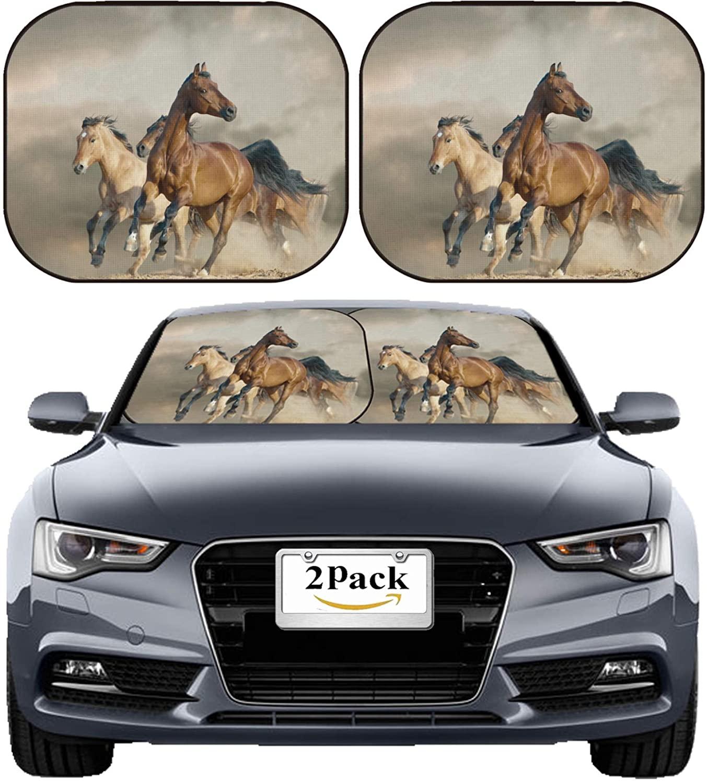MSD Car Sun Shade Windshield Sunshade Universal Fit 2 Pack, Block Sun Glare, UV and Heat, Protect Car Interior, Image ID: 35845917 Horses Run in a Wild