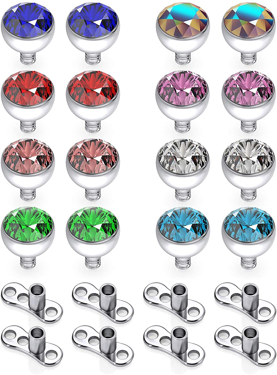 Hoeudjo 24-30PCS 14g Multicolor CZ Dermal Anchor Tops and Base Titanium Microdermals Piercing Jewelry for Women Men 2mm 3mm 4mm