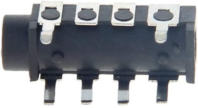 Fielect PCB Mount 3.5mm 6 Pin Socket Headphone Stereo Jack Audio Video Connector PJ313E Black 20Pcs