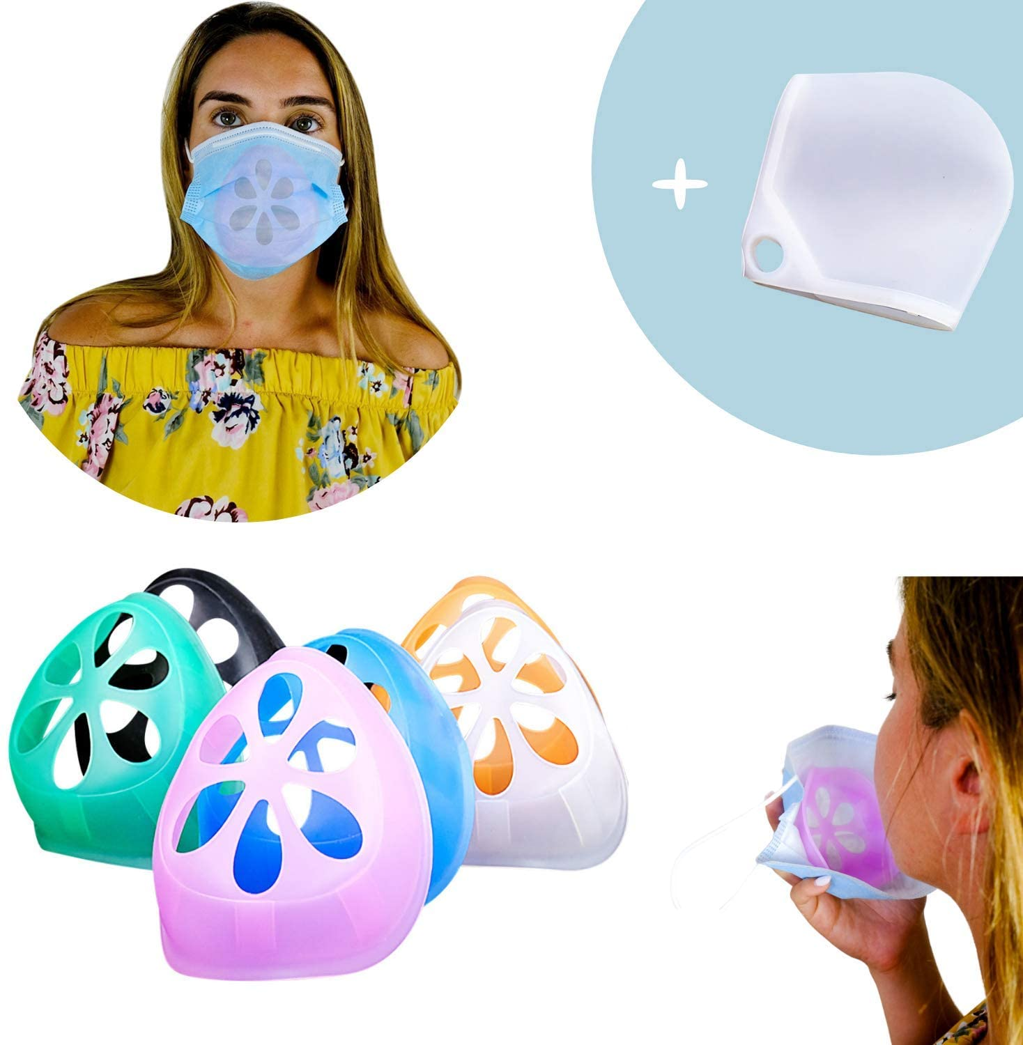 Face Bracket for Mask Support Frame - Silicone Mask Bracket 6 Colours with Face Mask Bracket Case for Improved Breathing or Lipstick Protection