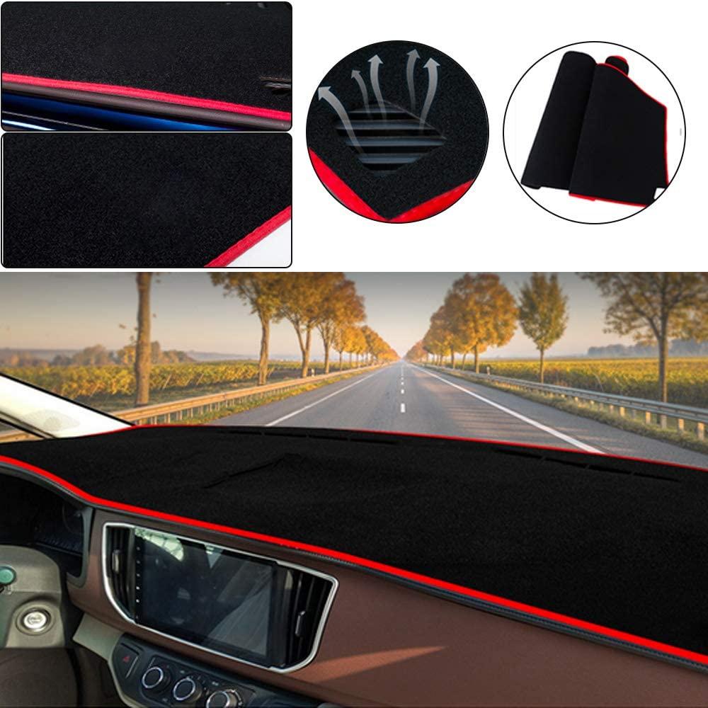 Muchkey Car Dashboard Dash Board Cover Mat Fit for Kia Sorento 2016-2020 Trim Base, EX, L, LX, S, SX, SXL,Dashboard Protector,Easy Installation,Black-red