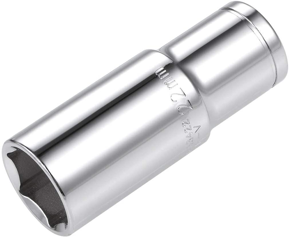 uxcell 1/2 Inch Drive 22mm 6-Point Deep Socket, Metric, Cr-V
