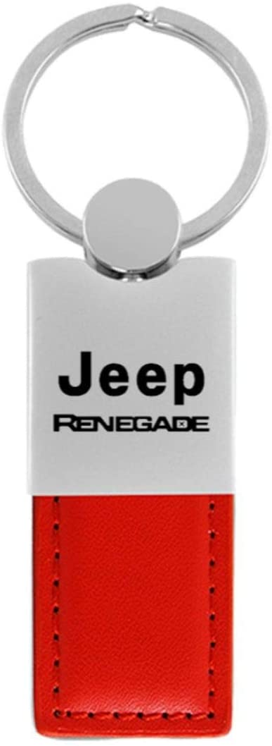 Au-Tomotive Gold, INC. Duo Leather Chrome Key Fob for Renegade Red - KC1740.Rene.RED-1