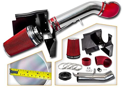 Cold Air Intake System with Heat Shield Kit + Filter Combo RED Compatible For 1999-2006 GMC/Chevy V8 4.8L/5.3L/6.0L Silverado 1500/2500/3500