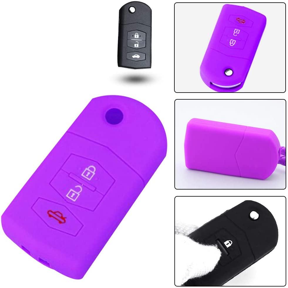 1PC Silicone Fob Case Key Holder for Mazda Axela Sport AZ-Wagon Premacy CX-3 Roadster Demio CX-5 Key Fob Holder Protector Purple
