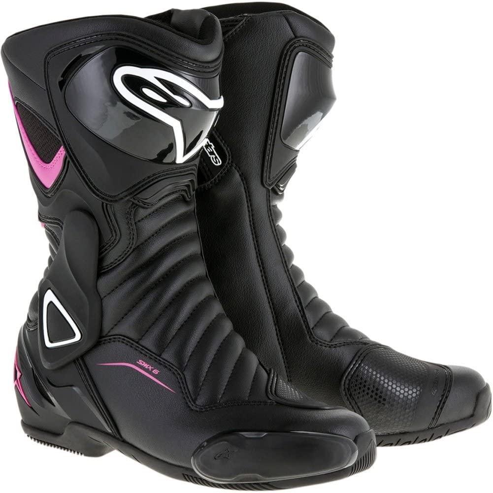 Alpinestars Women's Stella SMX-6 v2 Vented Street Motorcycle Boot, Black/Pink/White, 39