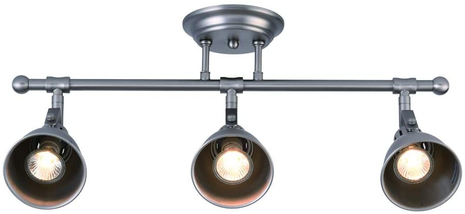 mirrea 22in Industrial Track Kit 3 Lamp Shade Heads with GU10 Base Direction Adjustable Semi Flush Ceiling Mount (Brushed Nickel)