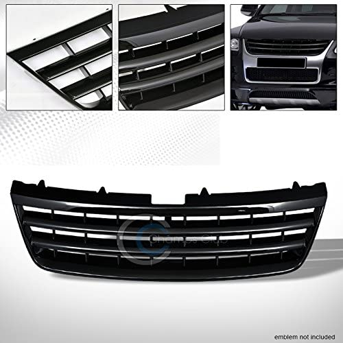 R&L Racing Black Finished Badgeless Horizontal Front Hood Bumper Grill Grille Cover Abs for 2003-2007 Volkswagen Touareg All Models