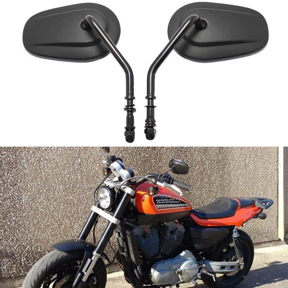 8mm black Tapered Motorcycle Teardrop Rearview Short Stem Mirrors For Harley Cruiser (Black)