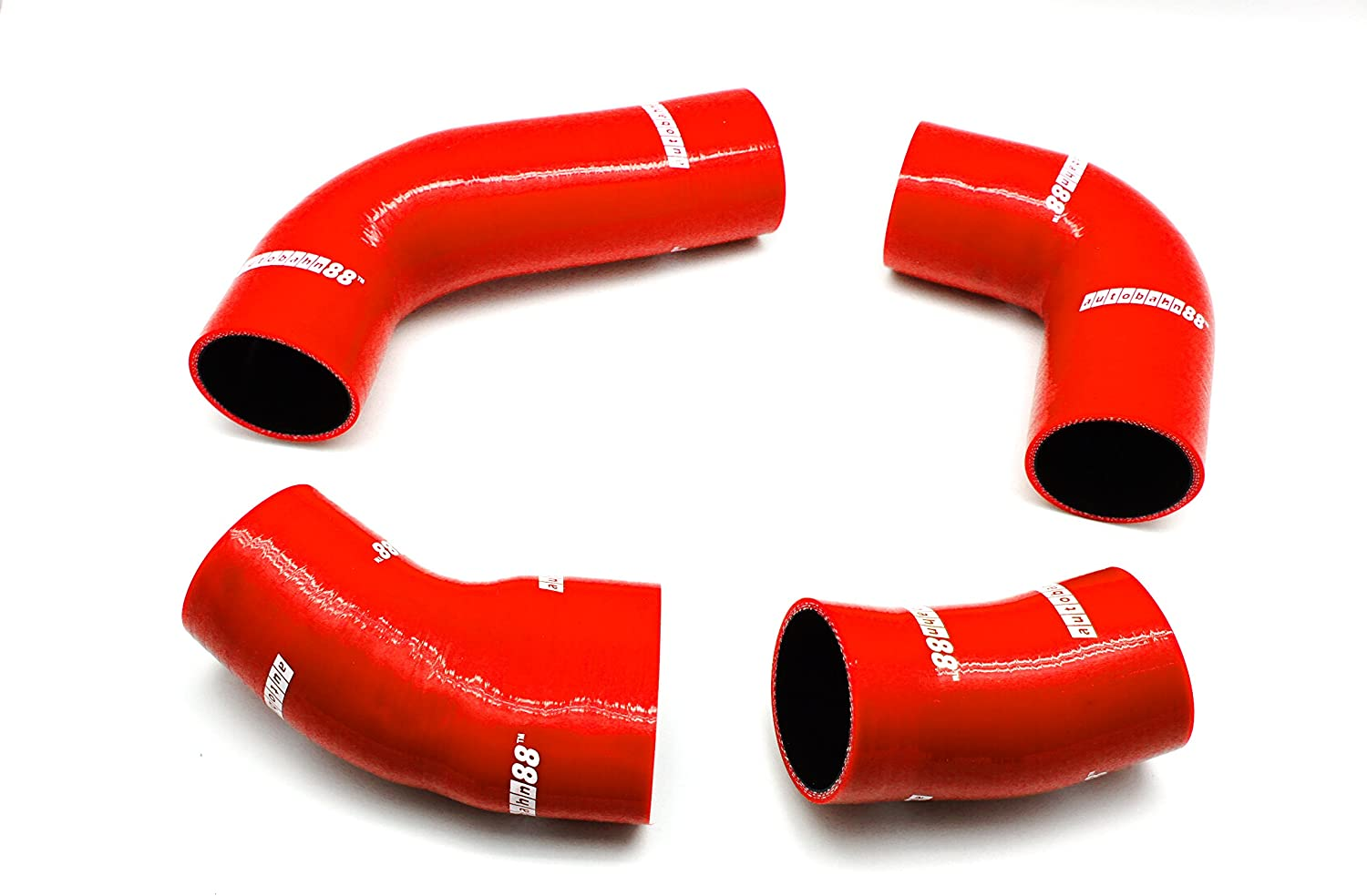 Autobahn88 SuperCharger Connecting Silicone Hose Kit fits for 1988-1995 Volkswagen VW Corrado G60 SuperCharger 1.8L (Red -with Clamp Set)