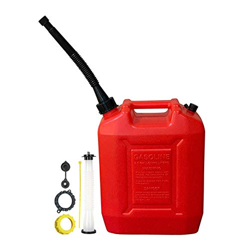 Kool Products 2.6 Gallon Gas Can with Two (One Long Black w/Filter and One Regular White) Gas Can Spout Replacement for Dirt Bike, ATV, Snow Blower, Car Accessories in Red Color(10 L)
