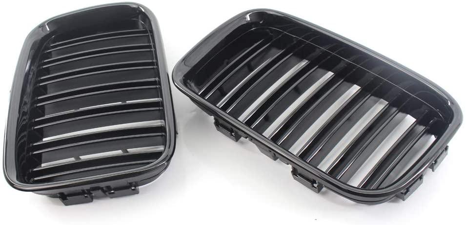 Tickas Car Front Grilles,51138122237/51138122238 Car Front Grilles Gloss Black Dual Slat Repalcement for BMW 3 Series E36 1992-1996