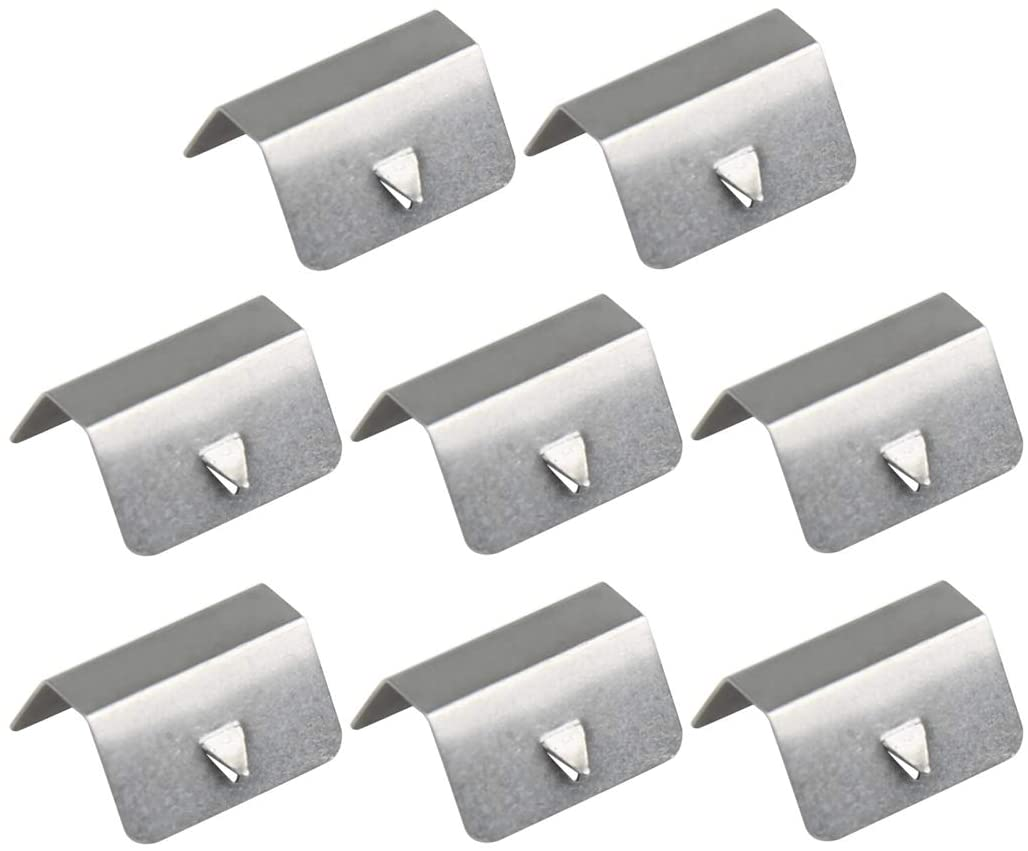 X AUTOHAUX 8pcs Universal Stainless Steel Car Wind Rain Eyebrow Fixed Clip Gray