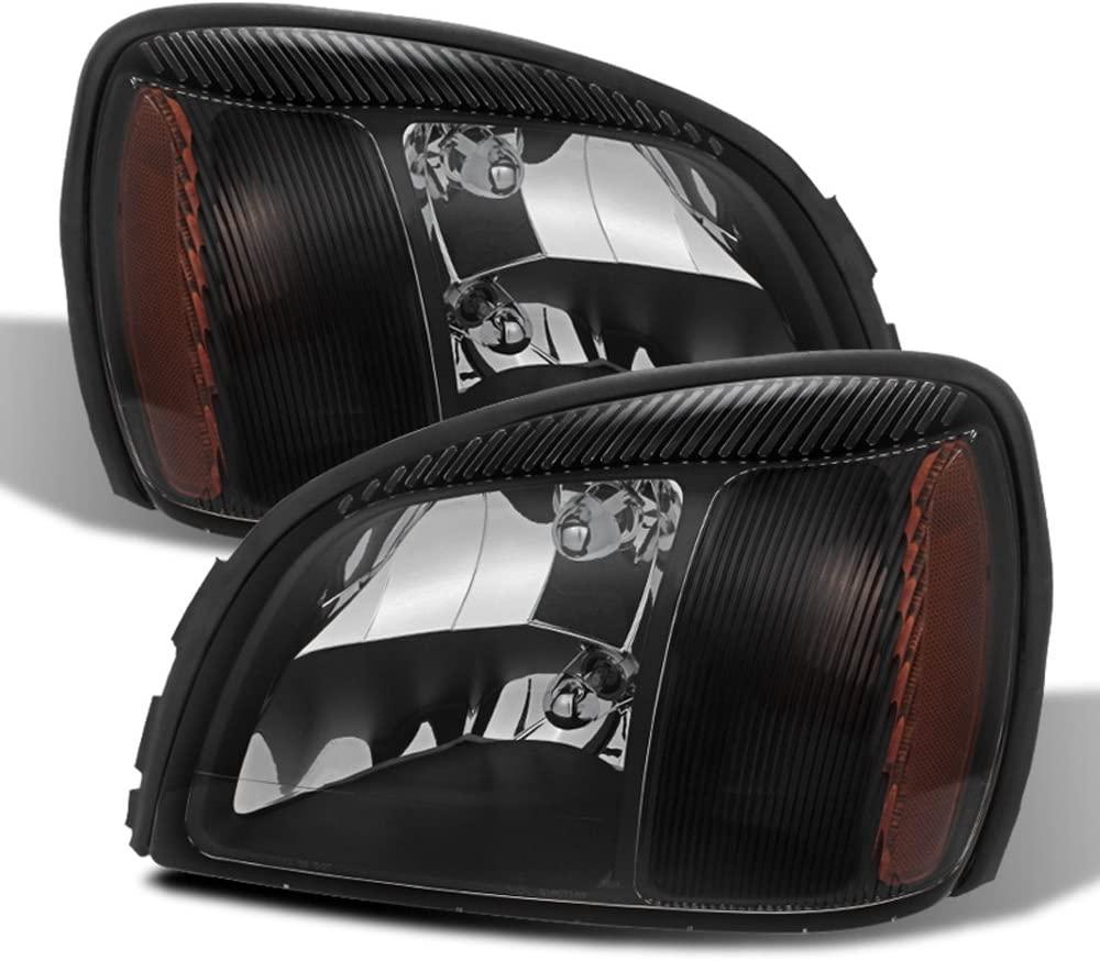 ACANII - For 2000-2005 Cadillac Deville Black Headlights Headlamps Head Lights Lamps Driver + Passenger Side Aftermarket