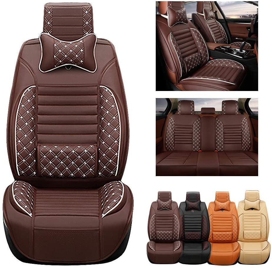 ytbmhhuoupx Fit for KIA Rio NIRO K5 Soul Forte Sportage Optima Stinger Sorento 5-Seats Car Seat Covers PU Leather Waterproof Seats Cushion fit All Season - Full Set & 2 Pillows Luxury Edition Brown