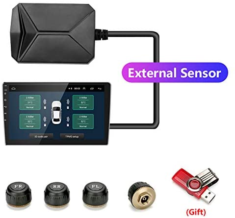 Jansite USB Android Tire Pressure Monitoring System TPMS Receiver Car Vehicle USB Tire Pressure Monitoring System DC 5V External Sensors Monitor Alarm Android Car Navigation Display