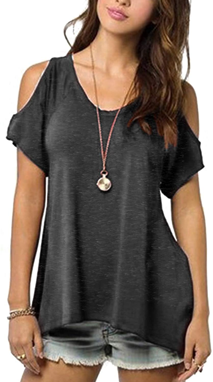 YOINS Women Tops Cold Shoulder Short Sleeves Round Neck Casual Fashion T Shirts