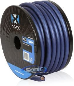 NVX 100% TINNED OFC Power and Ground True AWG Wire (Blue, 0 Gauge 50FT)