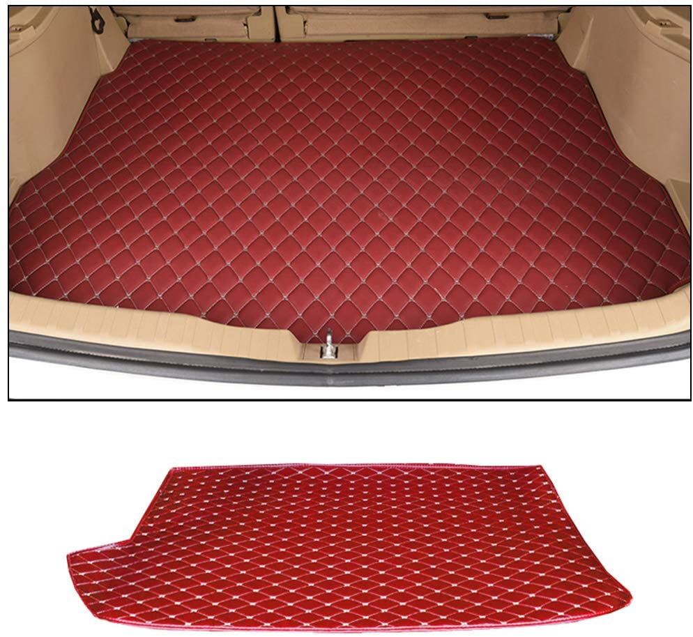 8X-SPEED Custom Car Trunk Mats Leather Cargo Liner for BMW 3 Series E93 320i 325i 330i 335i 2007-2011 Convertible All Weather Waterproof Durable Red
