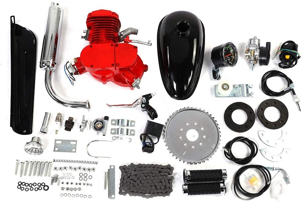 VGEBY Bicycle Engine Kit 80CC Bike Motorized Bicycle 2-Stroke Cycle Petrol Gas Engine Motor Kit Set with Speedometer