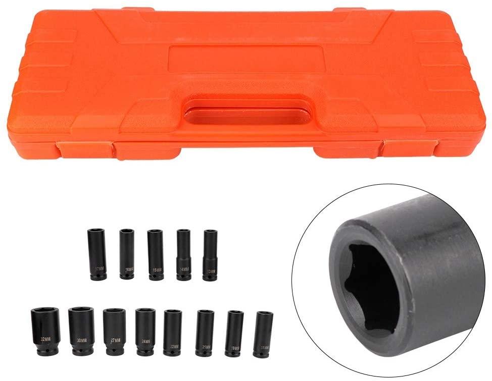 13Pcs 1/2 Inch Deep Impact Socket Tool Set (13-32 mm) Carbon Steel 6 Point Deep Impact Socket