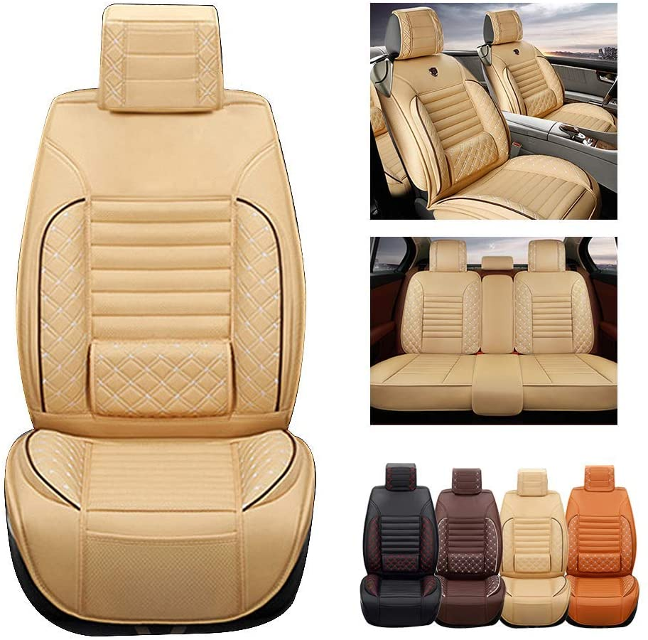 ytbmhhuoupx Fit for GMC Sierra 1500 2500 Yukon Terrain 5-Seats Car Seat Covers PU Leather Waterproof Seats Cushion fit All Season - Full Set Standard Edition Beige