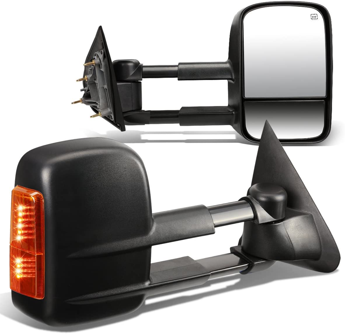 Replacement for Silverado Sierra GMT K2XX Pair of Black Powered+Heated Glass+Signal+Manual Extenable Side Towing Mirrors
