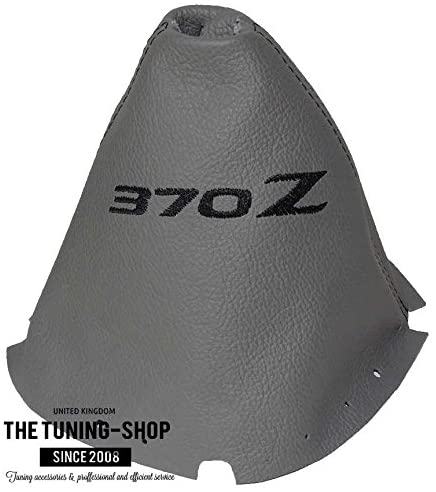 The Tuning-Shop Ltd For Nissan 370Z Z34 2009-2016 Manual Shift Boot Grey Leather Black 370Z Embroidery Edition