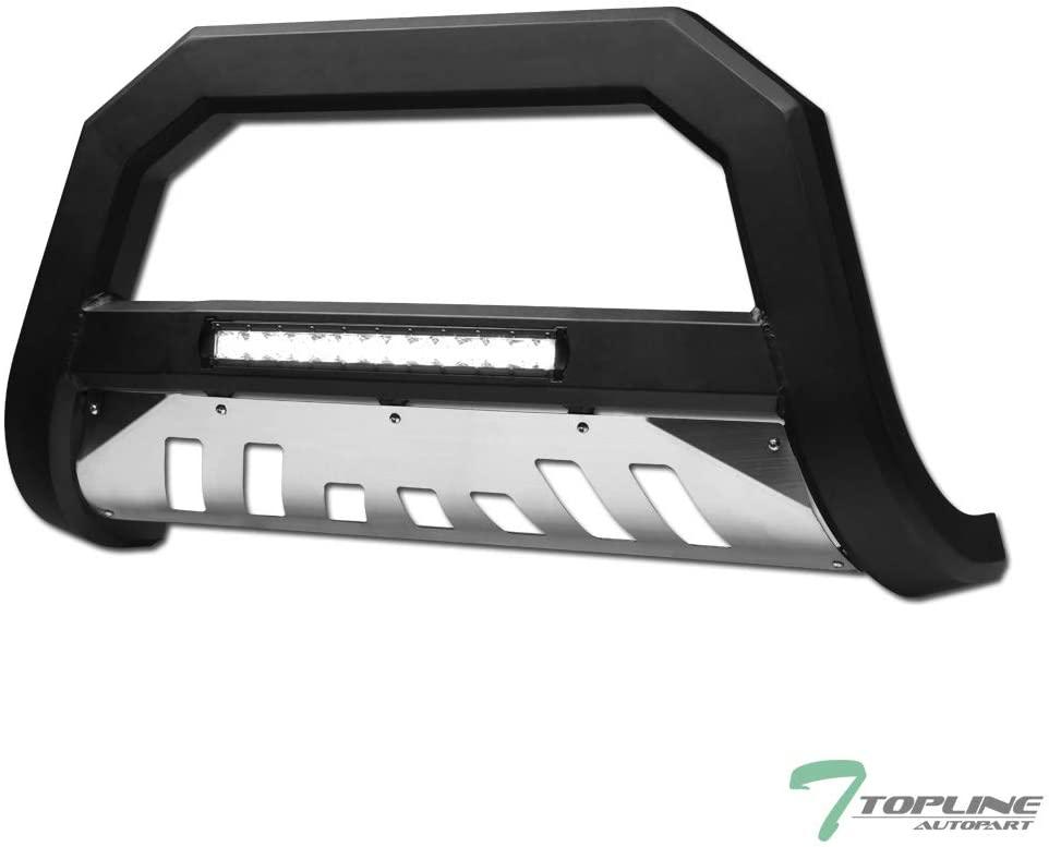 Topline Autopart Matte Black AVT Style Aluminum LED Light Bull Bar Brush Push Front Bumper Grill Grille Guard With Stainless Skid Plate For 06-08 Dodge Ram 1500/06-09 2500/3500 / 08-09 4500 5500