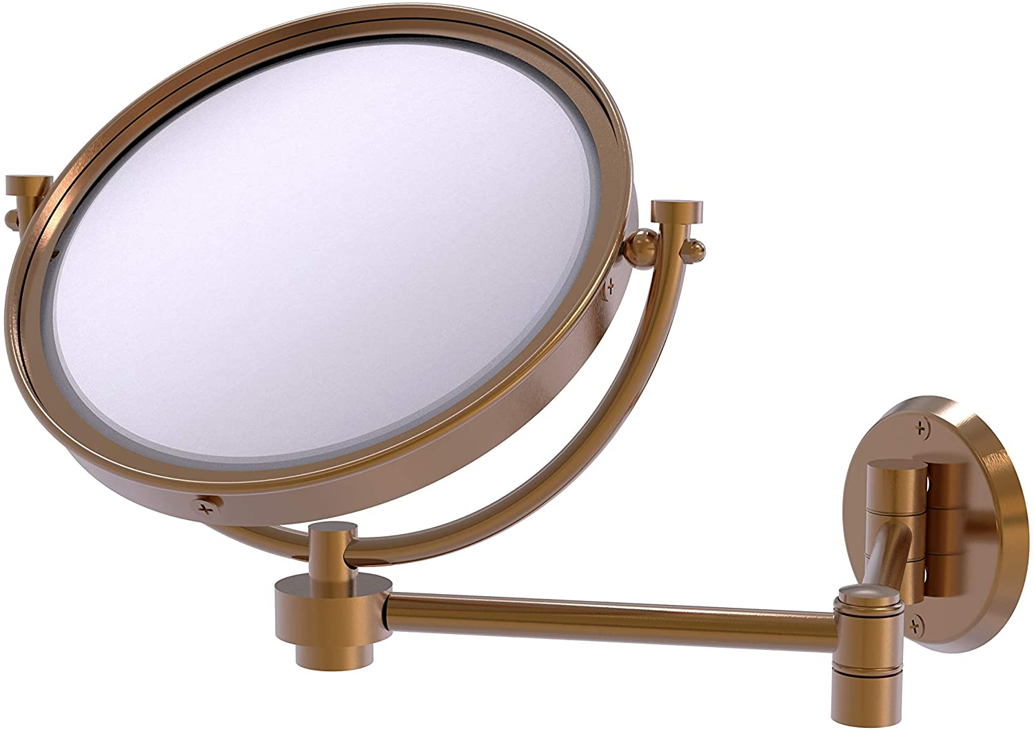 Allied Brass WM-6/3X 8 Inch Wall Mounted Extending 3X Magnification Make-Up Mirror, Brushed Bronze