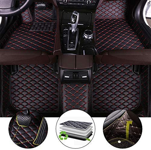 for 2018 Jeep Wrangler 4-Door Floor Mats Full Protection Car Accessories Black & Red 3 Piece Set