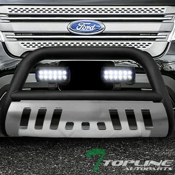 Topline Autopart Matte Black Bull Bar Brush Push Bumper Grill Grille Guard With Aluminum Skid Plate + 36W CREE LED Fog Lights For 11-19 Ford Explorer