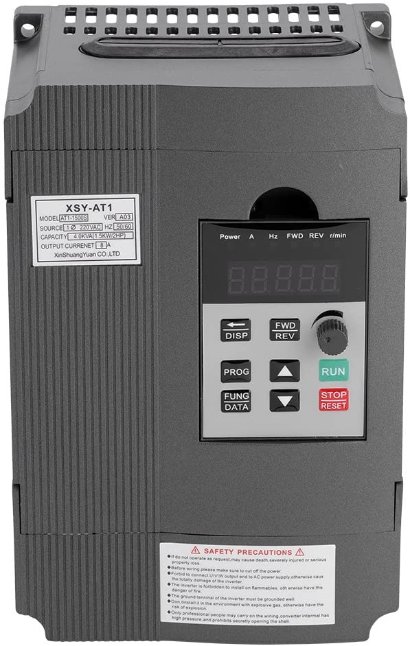 GOTOTOP 220V 1.5KW VFD Variable Frequency Drive CNC VFD Motor Drive Inverter Converter for CNC Router Milling Machine Spindle Motor Speed Control
