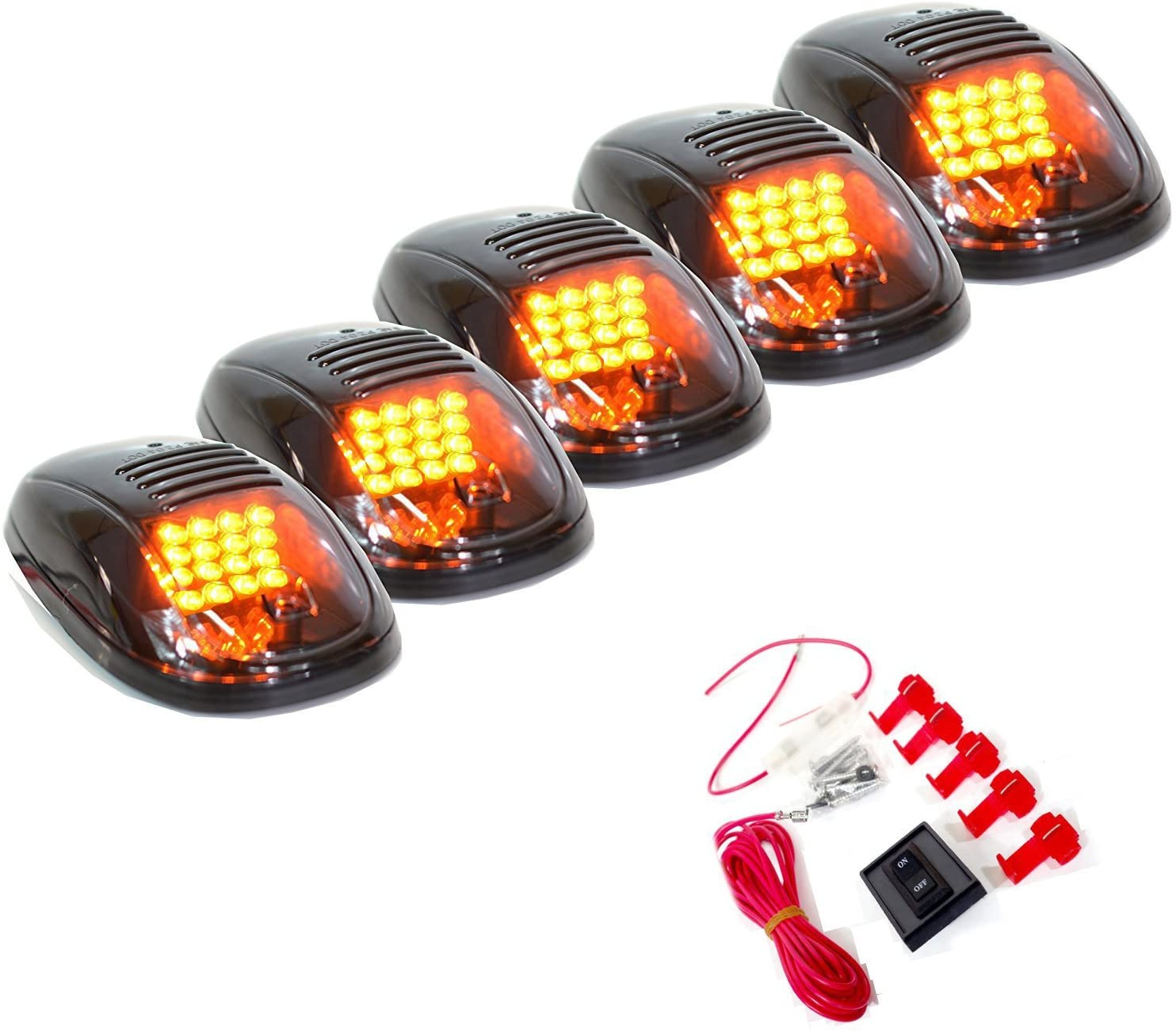 (Amber) 5pcs Cab Roof Top Running Marker Lights w/16 SMD LED Bulbs Replacement for 2003-2017 Dodge Ram 1500/2500/3500/4500/5500