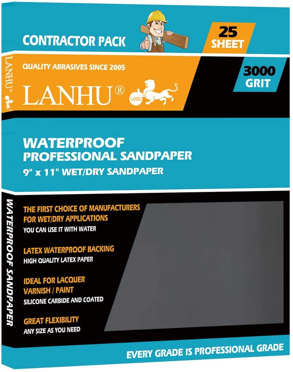 LANHU 3000 Grit Sandpaper for Wood Furniture Finishing, Metal Sanding and Automotive Polishing, Dry or Wet Sanding, Multipurpose Sandpaper, 9 x 11 Inches, 25-Sheets