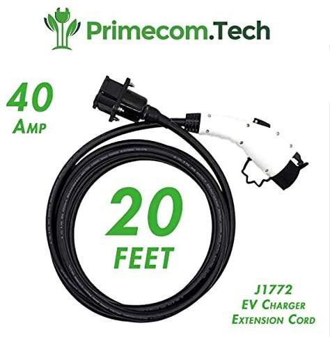 PRIMECOM 20 Feet J1772 EV Charging Cable Extension Cord (NOT for Tesla) 40A J1772 EV Charger Extension Cable 20ft (40Amp)