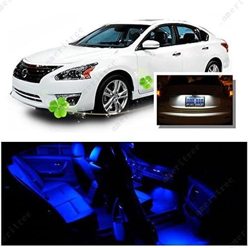 Ameritree LED PKG for Nissan Altima Sedan 2007-2012 (10 Pieces) Blue LED Lights Interior Package + White LED License Plate Kit