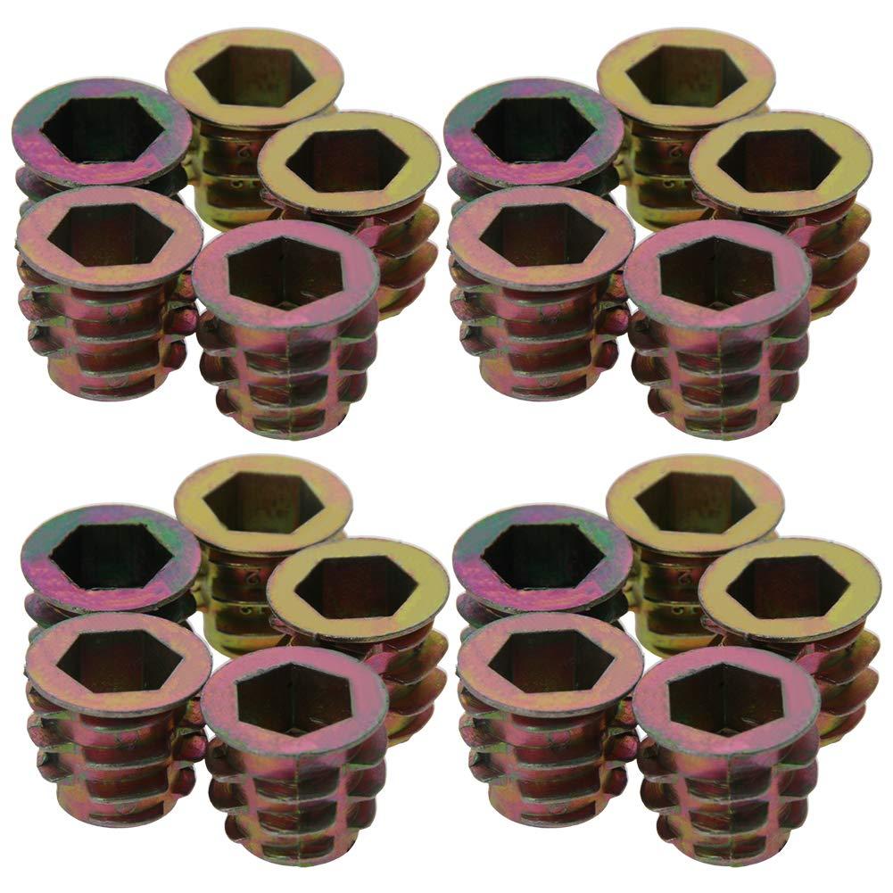 MroMax M8 x 13mm Threaded Insert Nuts Zinc Alloy Hex Socket M8 Internal Threads 0.51inch Length Bronze Tone 20pcs