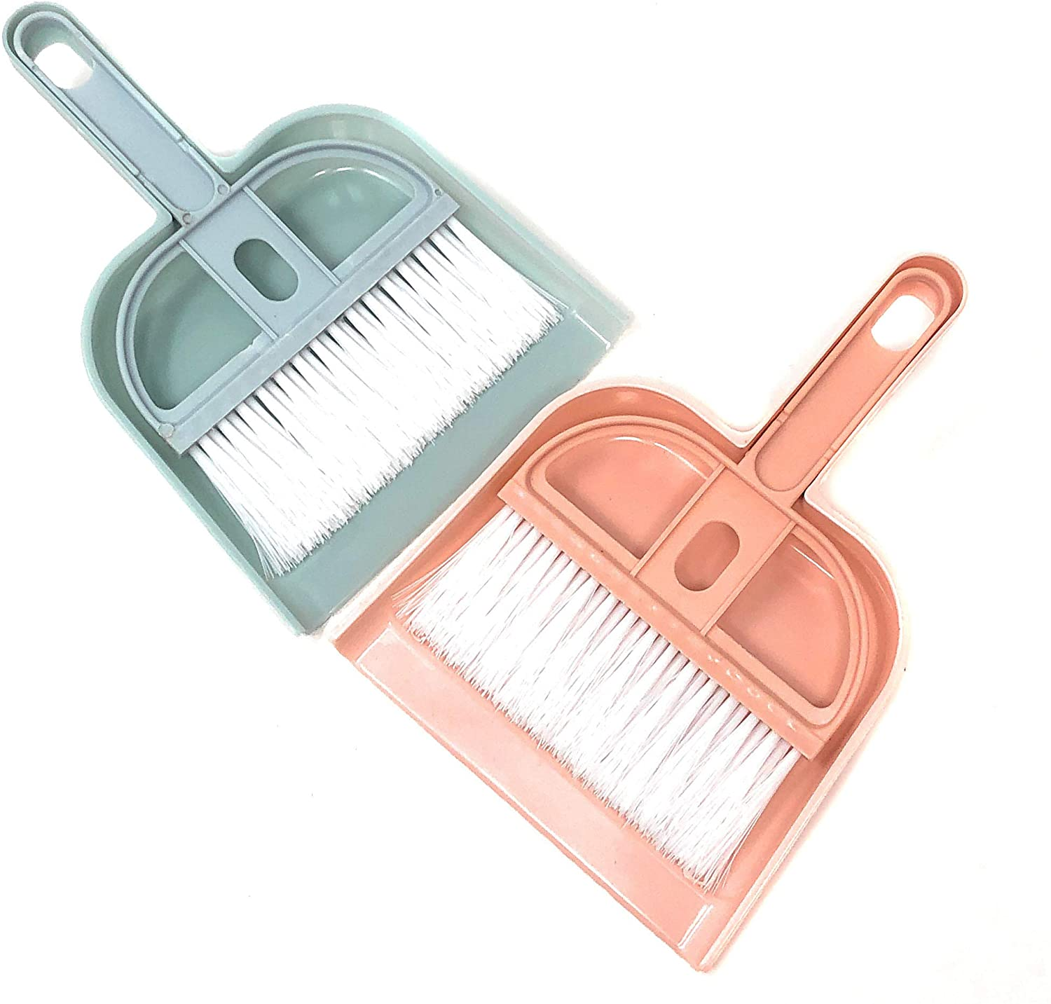 Rusoji Set of 2 Mini Brush with Dustpan Cleaner Set Small Handy Sweeping Cleaning Tool for Office Desk, Home Computer Keyboard, Pet Cage Waste, Car Interior