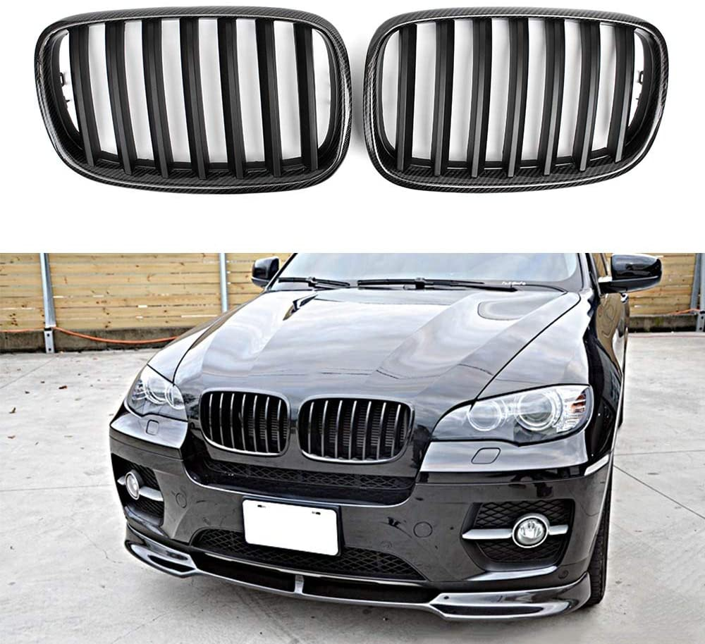 For 2007-2013 BMW E70 E71 X5 X6 SUV Look Carbon Fiber Front Kidney Grille Grill (Single Line)
