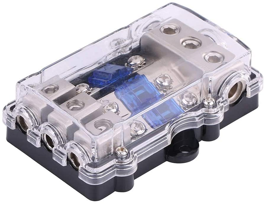 Enrilior Audio Power Fuse Box,Universal 60A Car Auto Vehicle Stereo Holder Block 1 in 3 Ways Out