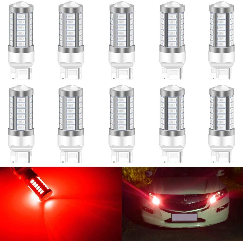 KATUR 10pcs 7440 7440NA 7441 992 5630 33-SMD Red 900 Lumens Super Bright LED Turn Tail Brake Stop Signal Light Lamp Bulb 12V 3.6W