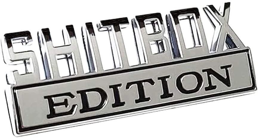 SHITBOX EDITION Emblem Sticker Car Badge for RAM GMC Chevy Car Truck Decal Chrome/Black and Chrome/Red (Chrome/Black)