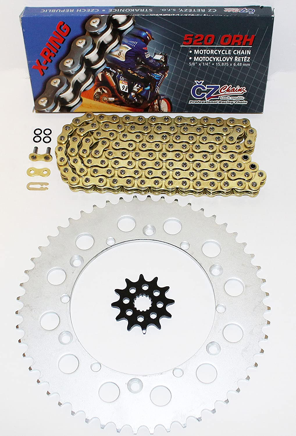 CZ ORHG Gold X Ring Chain and Sprocket 12/52 120L 1988-1998 fits Yamaha YZ125 125